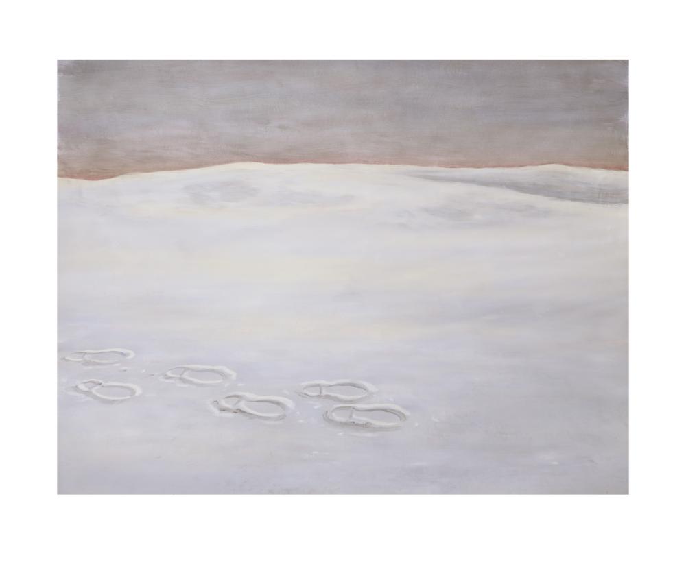 Untitled2015voetstappen in sneeuw 48x40 cm